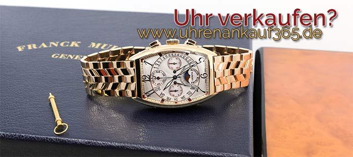 Foto einer Uhr von Franck Muller auf der Original-Box liegend