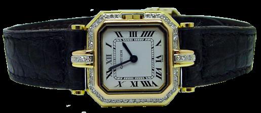 Abbildung einer Cartier-Uhr, seitlich liegend