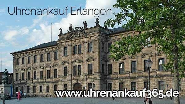 Das Foto zeigt: Markgräfisches Schloss in Erlangen und enthält den Text Uhrenankauf Erlangen