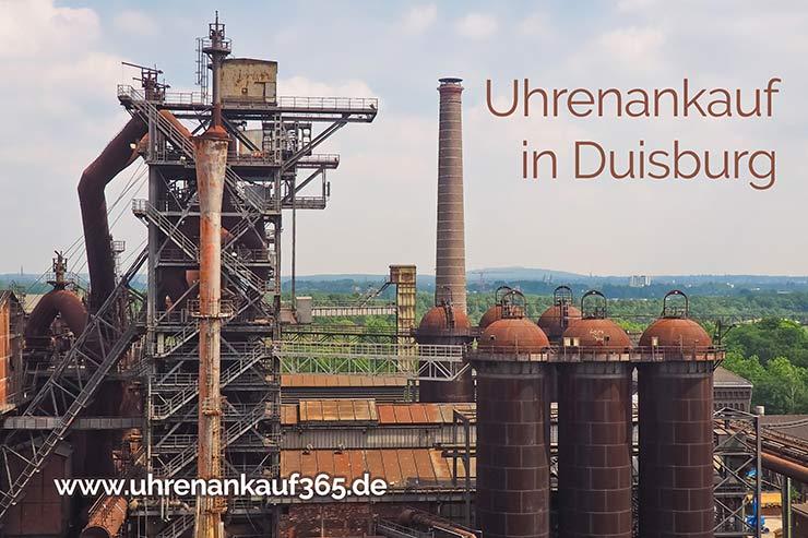 Industrieanlage in Duisburg mit dem Schriftzug Uhrenankauf in Duisburg
