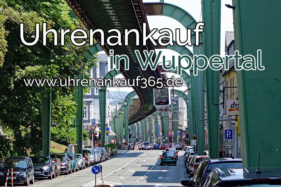 Uhrenankauf in Wuppertal, das Bild zeigt eine Straße mit der Wuppertaler Schwebebahn.